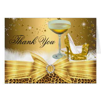 Leopard Print & Heels Thank You Card Gold