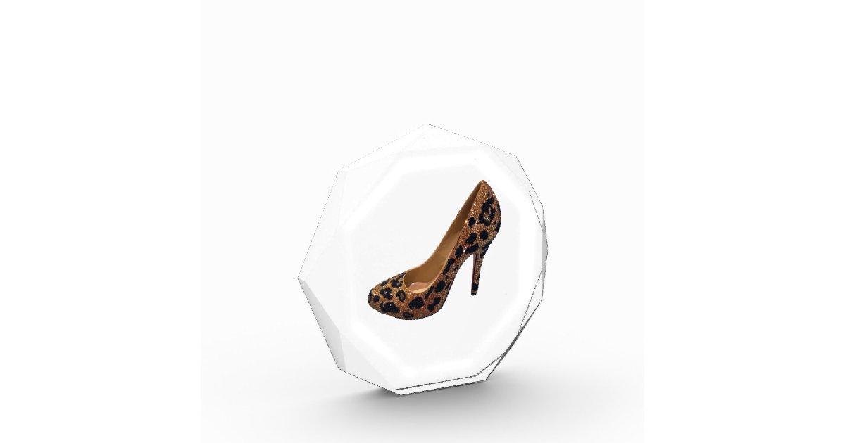 leopard print high heel shoe award zazzle
