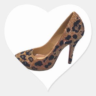 Leopard Print High Heel Shoe Pump Heart Sticker