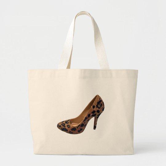 Leopard Print High Heel Shoe Pump Large Tote Bag