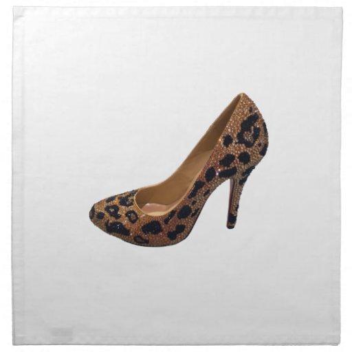 leopard print high heel shoe napkins zazzle