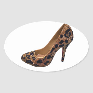 Leopard Print High Heel Shoe Pump Oval Sticker
