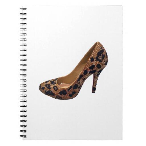 Leopard Print High Heel Shoe Pump Spiral Notebook