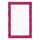 Leopard Print/hot pink/Add background color!! Custom Stationery