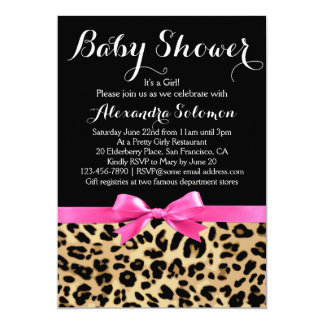 Leopard Print Hot Pink Bow Girl Baby Shower 5x7 Paper Invitation Card