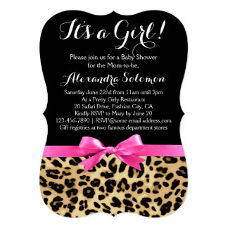 Leopard Print Hot Pink Bow Its a Girl Baby Shower 5x7 Paper Invitation Card