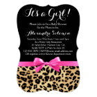 Leopard Print Hot Pink Bow Its a Girl Baby Shower Card