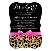 Leopard print baby shower invitations announcements zazzle leopard print hot pink bow its a girl baby shower filmwisefo Gallery