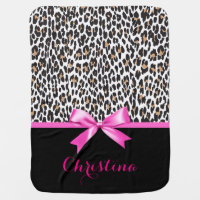 Leopard Print & Hot Pink Bowknot Personalized Receiving Blanket