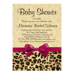 Leopard Print Hot Pink Girl Baby Shower Invitation