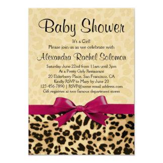 Leopard Print Hot Pink Girl Baby Shower Invitation