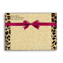 Leopard Print Hot Pink Girl Matching Envelope