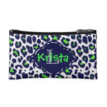 Leopard Print in Lime Green & Navy w/Monogram Makeup Bag