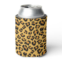 Leopard Print in Natural Brown, Gold and Black Can Cooler