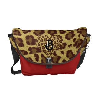 leopard print initial bag red courier bag