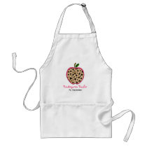 Leopard Print Kindergarten Teacher Apple Apron