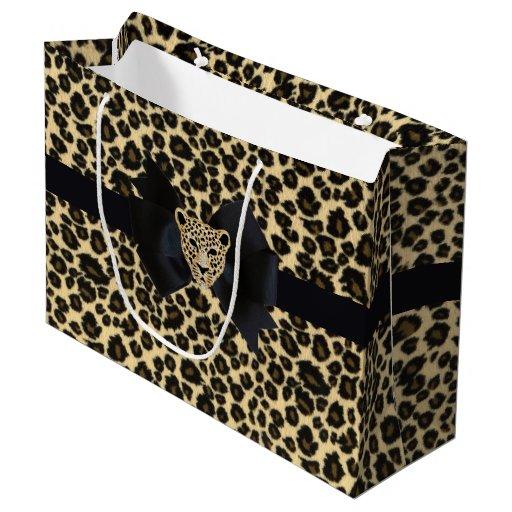 Leopard print large gift bag zazzle