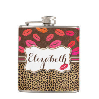 Leopard Print Lips Kisses Personalized Flask