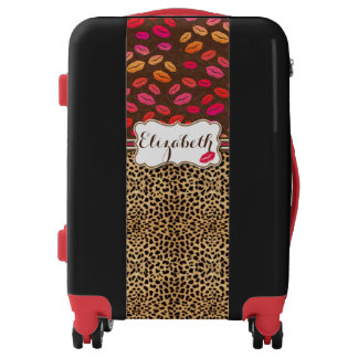 Leopard Print Lips Kisses Personalized Luggage