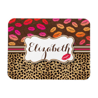 Leopard Print Lips Kisses Personalized Magnet