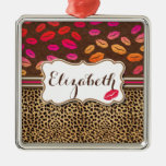 Leopard Print Lips Kisses Personalized Square Metal Christmas Ornament