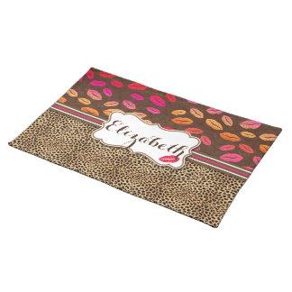 Leopard Print Lips Kisses Personalized Cloth Placemat