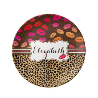 Leopard Print Lips Kisses Personalized Plate