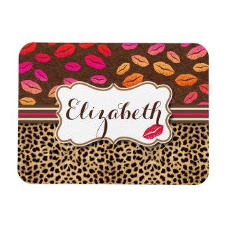Leopard Print Lips Kisses Personalized Rectangular Photo Magnet