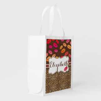 Leopard Print Lips Kisses Personalized Reusable Grocery Bag