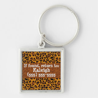 Leopard Print Lost and Found Keychain Silver-Colored Square Keychain