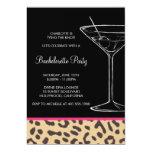 leopard print martini bachelorette 5x7 paper invitation card