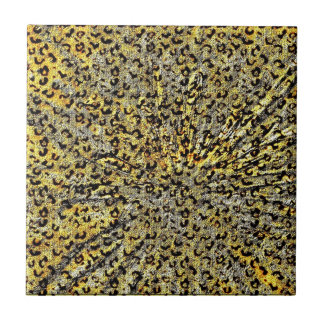 Leopard Print Martini Glass abstract in yellow Small Square Tile