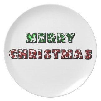 Leopard Print Merry Christmas Plates