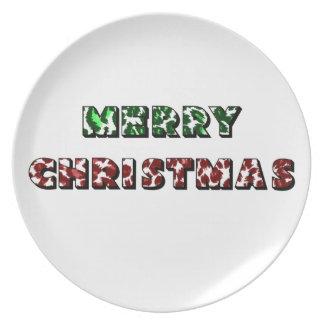 Leopard Print Merry Christmas Plate