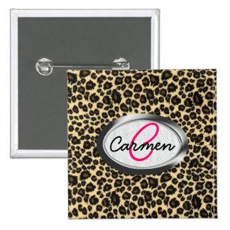Leopard Print Monogram 2 Inch Square Button