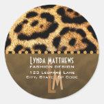 Leopard Print Monogram Address Labels Stickers