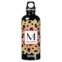 Leopard Print Monogram Aluminum Water Bottle