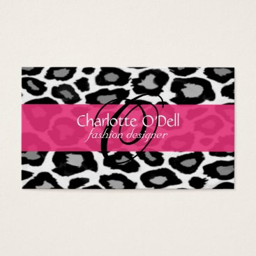 Professional Business Leopard Print Monogram Business Cards