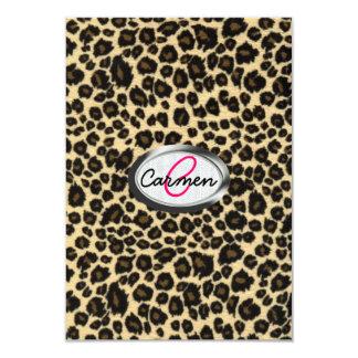 Leopard Print Monogram Card