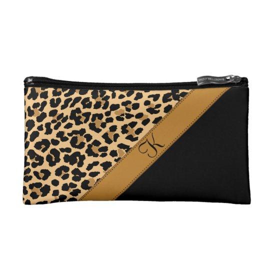 Leopard Print Monogram Cosmetic Bags & Wristlets
