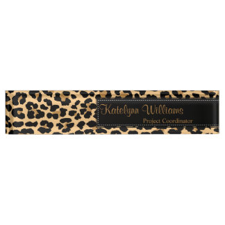Leopard Print Monogram Desk Name Plate