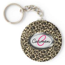 Leopard Print Monogram Keychain