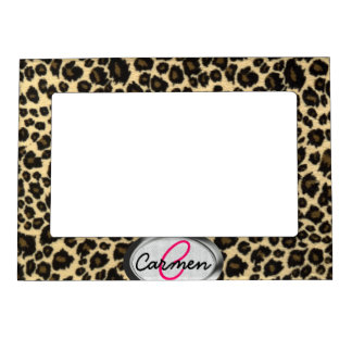 Leopard Print Monogram Magnetic Picture Frame