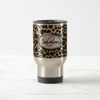 Leopard Print Monogram Mug