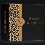 """Leopard Print Monogram Recipe Binder<br><div class=""""desc"""">Stylish and trendy leopard print pattern recipe binder.  A cool and fun way to collect,  store and organize all your recipes.  Makes a great gift for all occasions.  Click the &quot;Customize it!&quot; button to change the text size,  text color,  font style and more!</div>"""