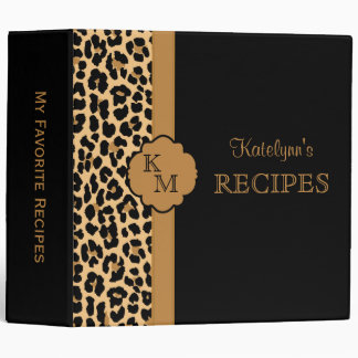 Leopard Print Monogram Recipe Binder