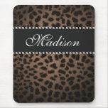 Leopard Print Monogram Rhinestone Bling Mouse Pad at Zazzle