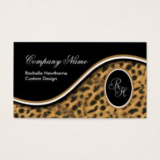 Leopard Print Monogram S Business Cards ~ Black