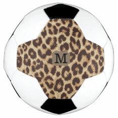 Leopard Print Monogram Soccer Ball at Zazzle