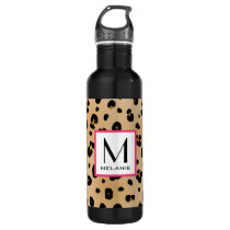 Leopard Print Monogram Stainless Steel Water Bottle